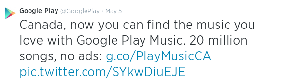 Google Announces Google Play Music available in Canada